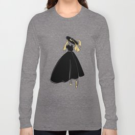 1950's Inspired Fashion Illustration Black & White with Gold Long Sleeve T-shirt