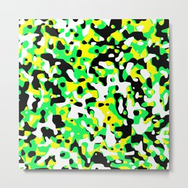 Uncovered Camouflage Neon Green Metal Print
