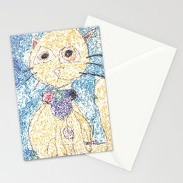 Cute Yellow Cat With Scarf Stationery Cards