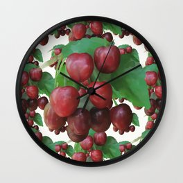 Sour Cherry, watercollor Wall Clock