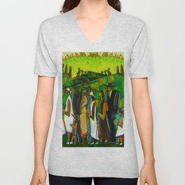 African American Masterpiece 'Funeral Procession' by Ellis Wilson Unisex V-Neck
