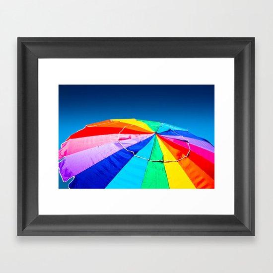 Rainbow Beach Umbrella Framed Art Print