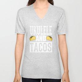 Ukulele and Tacos Funny Taco Band Unisex V-Neck