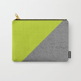 Cement Lime Diagonal Color Block Carry-All Pouch