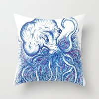 squid Throw Pillows featuring Squid by Katie Alex
