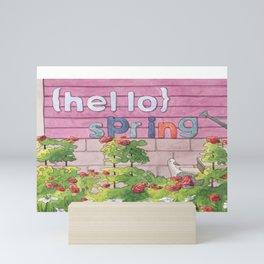 {Hello} Spring - Colorful Watercolor Art Mini Art Print