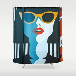 Girl with sunglasses Shower Curtain