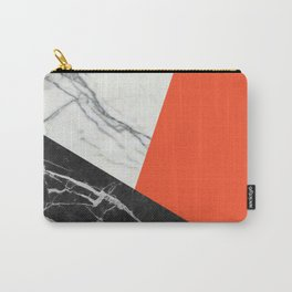 Black and white marble with pantone flame color Carry-All Pouch