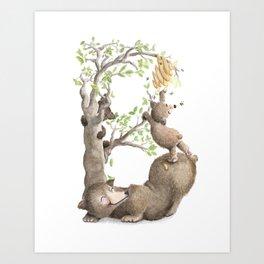 B is for Brown Baby Bears & Buzzing Bees! - Nursery Decor - Laugh-A-Bit Alphabet by BirdsFlyOver Art Print