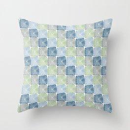 Vintage boxes: retro blue, green, gray Throw Pillow