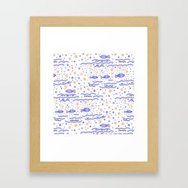 Little Blue Fish in the Sea , Waves and Water with Tiny School of Fishes Pattern Framed Art Print