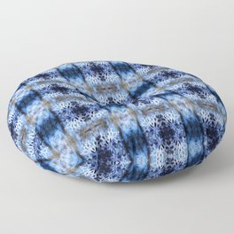 snowflake in blue 8 pattern Floor Pillow