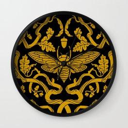 Cicada Oak Gold Wall Clock