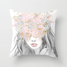 She Wore Flowers in Her Hair Rose Gold Throw Pillow