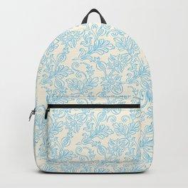 Vintage retro ivory blue shabby floral damask pattern Backpack