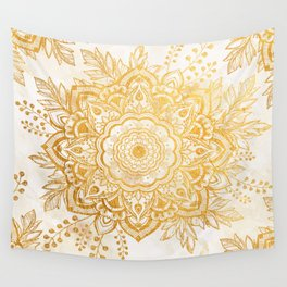 Queen Starring of Mandala-Gold Sunflower I Wall Tapestry
