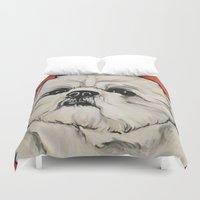 shih tzu Duvet Covers featuring Waffles the Shih Tzu by Cheney Beshara