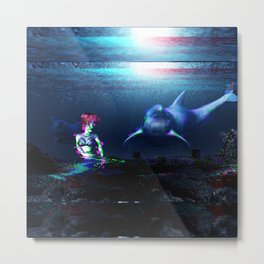 Glitch dolphins and mermaid Metal Print