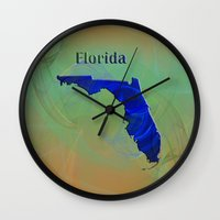 florida Wall Clocks featuring Florida Map by Roger Wedegis
