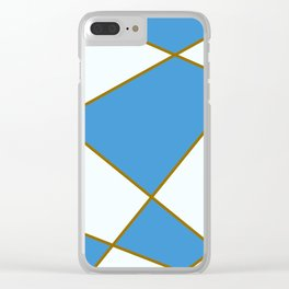 Geometric abstract - blue and brown. Clear iPhone Case