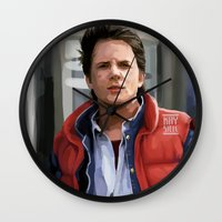mcfly Wall Clocks featuring Marty McFly by Kaysiell