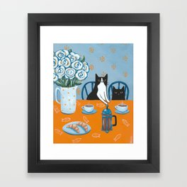 Cats and a French Press Framed Art Print