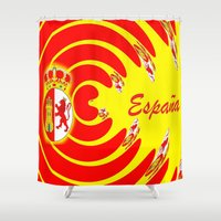 spanish Shower Curtains featuring Spanish Flag by Created by Eleni