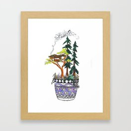 Forest Tree House - Woodland Potted Plant Framed Art Print