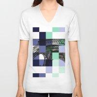 eiffel V-neck T-shirts featuring EIFFEL by Marcela Solana