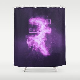 Indian Rupee sign, Indian Rupee symbol. Monetary currency symbol. Abstract night sky background. Shower Curtain