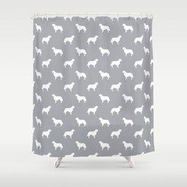 Golden Retriever dog silhouette grey and white minimal basic dog lover pattern Shower Curtain