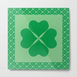 St. Patrick's Day Four Leaf Clover Uniformed Mosaic Pattern Metal Print