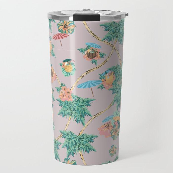 Dusty pink tropical drinks Travel Mug