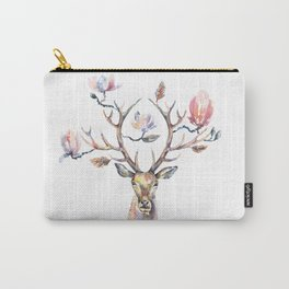 Deer's head with magnolia flowers on the horns. Carry-All Pouch