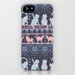 Fair Isle Knitting Cats Love // purple white and pink kitties iPhone Case