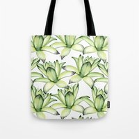 succulents Tote Bags featuring Succulents by Julia Badeeva