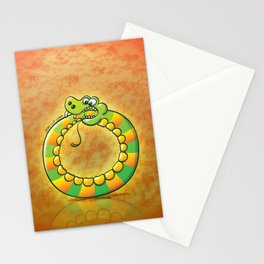 Crazy snake Biting its own Tail Stationery Cards