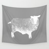 sheep Wall Tapestries featuring Sheep by PoseManikin