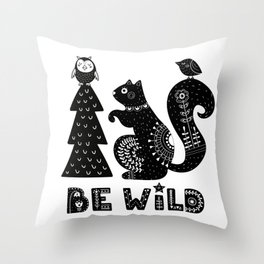Be Wild Cute Owl And Squirrel In Scandinavian Style Throw Pillow
