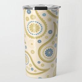 Paisley Funky Design Cream Golds Blues Travel Mug