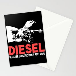 Diesel Because Electric Can't Roll Coal Funny Truck Trucker Mechanics Gift Stationery Cards