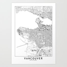 Vancouver White Map Art Print