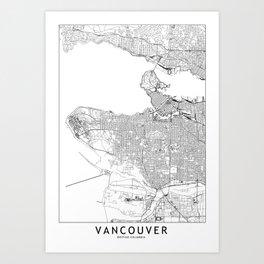 Vancouver White Map Art Print