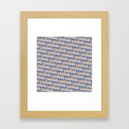 Lansing, Michigan Trendy Rainbow Text Pattern (Blue) Framed Art Print