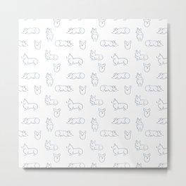 Corgi Pattern Metal Print