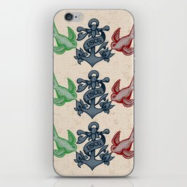 Swallows and Anchor Chest Piece (USCG Traditional Tattoo) iPhone Skin