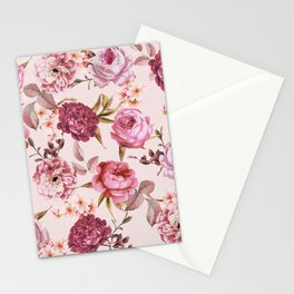 Blush Pink and Red Watercolor Floral Roses Stationery Cards