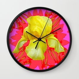 YELLOW IRIS MODERN ART RED FLORAL ABSTRACT Wall Clock