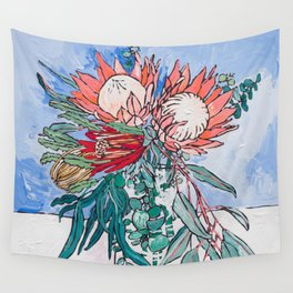 Painterly Vase of Proteas, Wattles, Banksias and Eucayptus on Blue Wall Tapestry