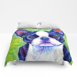 Colorful Boston Terrier Dog Comforters